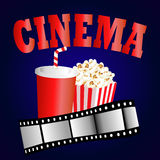 Cinema background with popcorn box, film strip. And paper cup with drink Royalty Free Stock Photography