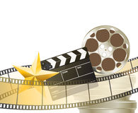 Cinema background with retro filmstrip, clapper and star Stock Image
