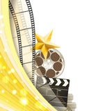 Cinema background with retro filmstrip, clapper and star Stock Photography