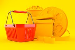 Cinema background with shopping basket. In orange color. 3d illustration Royalty Free Stock Image
