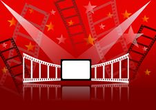Cinema background. Background with theme cinema with a white blank screen stock illustration