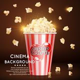 Cinema background with vector realistic popcorn. Cinema banner background with vector realistic popcorn and shine effect illustration Royalty Free Stock Photography