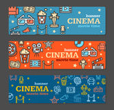 Cinema Banner Card Tickets Set. Vector Stock Photos