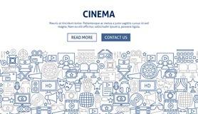 Cinema Banner Design. Vector Illustration of Line Web Concept Royalty Free Stock Image