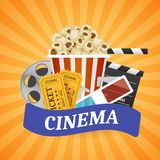 Cinema Banner. Movie watching with popcorn and 3D glasses. Film industry. Cinematography concept. Vector illustration Stock Photos