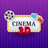 Cinema Banner. Movie watching with popcorn and 3D glasses. Film industry. Cinematography concept. Vector illustration Royalty Free Stock Photography