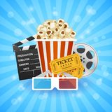 Cinema Banner. Movie watching with popcorn and 3D glasses. Film industry. Cinematography concept. Vector illustration Stock Photography