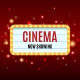 Cinema Banner. Movie watching retro background. Film industry. Cinematography concept. Vector illustration Stock Photos