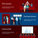 Cinema banner set. Cinematography  banners with purchase ticket  cinema hall film session and  audience flat  vector  illustration Stock Photo