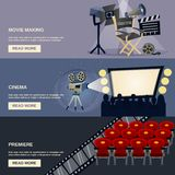 Cinema Banner Set Royalty Free Stock Photography