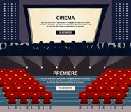 Cinema Banner Set Stock Photos