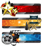 Cinema Banners. Vector set of three colorful fancy cinema banners, isolated on white Royalty Free Stock Image