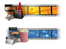 Cinema Banners. With director chair, popcorn, tickets and clapper board Royalty Free Stock Photos