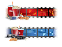 Cinema Banners. With popcorn, tickets and clapper board Royalty Free Stock Image
