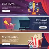 Cinema banners. Movie video and theater entertainment cartoon icons 3d glasses popcorn clapper megaphone vector design stock illustration