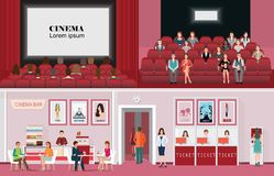 Cinema banners with purchase ticket cinema hall film and audienc. E, people are watching film in the cinema flat vector illustration Royalty Free Stock Photography