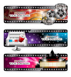 Cinema Banners. Vector set of three abstract cinema banners with film reel, film strips, 3d glasses and paper cup lying on chair and marquee sign in front of Stock Photos