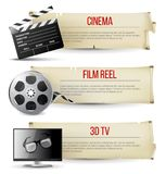 Cinema banners. 3 cinema banners in vintage style Stock Photos