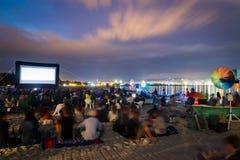 CINEMA ON THE BEACH AT NIGHT royalty free stock image