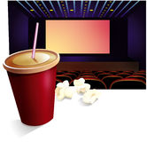 Cinema, bebida, pipoca Foto de Stock