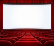 Cinema Big Screen With Red Curtain And Seats Stock Photo