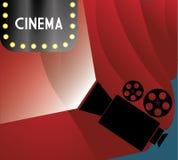Cinema billboard lights camera film curtain. Illustration eps 10 Stock Image