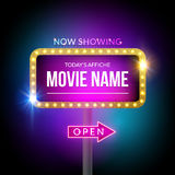 Cinema billboard now showing. Vector sign for theater with lights. Shiny banner decoration.  Royalty Free Stock Photos
