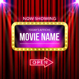 Cinema billboard now showing. Vector sign for theater with lights. Shiny banner decoration curtains.  Stock Photography