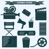 Cinema black and white icon set. Cinema icon set. Making Movie. Camera, Movie  Ticket, Clapper board, Directors Seat, Loudhailer, Cocktail glass with tube, Film Royalty Free Stock Images