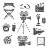 Cinema Black White Icons Set. With projector clapper megaphone reel 3d-glasses snack drink  vector illustration Royalty Free Stock Photo