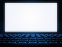 Cinema blank screen with blue seats Royalty Free Stock Image