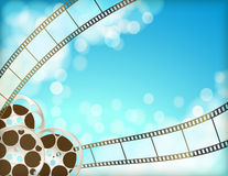 Cinema blue background with retro film strip, film reel. Cinema blue background with retro filmstrip, film reel. vintage movie abstract horizontal background royalty free illustration