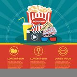 Cinema blue poster. Cinema concept poster template with popcorn bowl, film strip and tickets, realistic detailed vector illustration Stock Photo