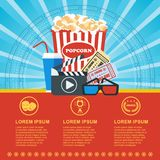 Cinema blue poster. Cinema concept poster template with popcorn bowl, film strip and tickets, realistic detailed vector illustration Royalty Free Stock Image