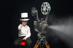 Cinema and boy Royalty Free Stock Images