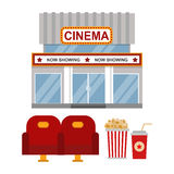 Cinema building and entertainment equipment vector illustration. Stock Photos