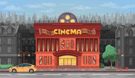 Cinema building  illustration on background of city. Cinema building with a lot of detail on the background of the city Stock Photo