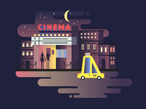 Cinema building night Royalty Free Stock Image