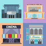 Cinema building vector illustration facade movie entertainment city house architecture theater exterior. Royalty Free Stock Photo