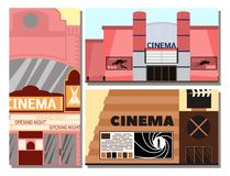 Cinema building vector illustration facade movie entertainment city house architecture theater exterior. Royalty Free Stock Images