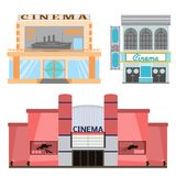 Cinema building vector illustration facade movie entertainment city house architecture theater exterior. Cinema building vector illustration facade movie Stock Image