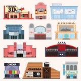 Cinema building vector set. Stock Photos