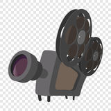 Cinema camera cartoon icon. Cinema camera icon in cartoon style on transparent background Stock Image