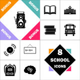 Cinema camera computer symbol. Cinema camera Icon and Set Perfect Back to School pictogram. Contains such Icons as Schoolbook, School  Building, School Bus Stock Images