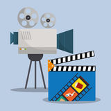 Cinema camera film clapper director. Illustration eps 10 Royalty Free Stock Images