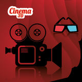 Cinema camera film 3d glasses curtain backgroun poster Royalty Free Stock Photo