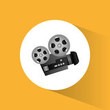 Cinema camera film projector round icon. Vector illustration eps 10 Royalty Free Stock Photos