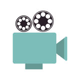 Cinema camera icon. Blue cinema camera with film reels icon over white background. vector illustration Royalty Free Stock Photo