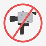 Cinema camera icon. Cinema camera NO icon. Flat  stock illustration Royalty Free Stock Photos