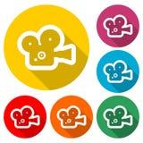 Cinema camera icon, color icon with long shadow. Simple vector icons set Stock Photos